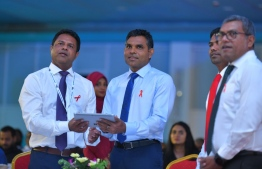 Vice President Faisal Naseem (C) launched Fenaka Corporation's remote monitoring mechanism at Engineering Symposium 2019. PHOTO/PRESIDENT'S OFFICE