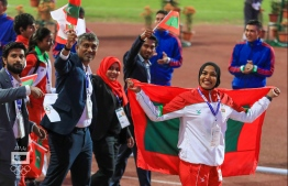 Maldives' contingent at 2019's South Asian Games (SAG). PHOTO: MALDIVES OLYMPIC COMMITTEE