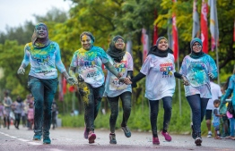 Women participate in the Ooredoo Color Run 2019. FILE PHOTO / OOREDOO MALDIVES