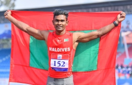 Hassan Saaidh after securing gold for Maldives in the men's 100-metres event at the South Asian Games (SAG). PHOTO: HUSSAIN WAHEED/ MALDIVES OLYMPIC COMMITTEE (MOC)