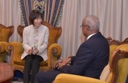 Japanese Ambassador Keiko Yanai pays courtesy call on President Ibrahim Mohamed Solih on December 5, 2019. PHOTO/PRESIDENT'S OFFICE