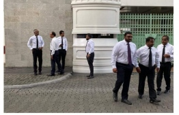 Members of the opposition coalition outside the President's Office. PHOTO: SOCIAL MEDIA