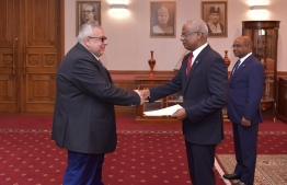 Cypriot Ambassador Agis Loizou presents credentials to President Ibrahim Mohamed Solih on December 9, 2019. PHOTO/PRESIDENT'S OFFICE