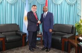 Argentine Ambassador Daniel Chuburu calls on Foreign Minister Abdulla Shahid on December 8, 2019. PHOTO/FOREIGN MINISTRY