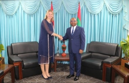 Dutch Ambassador Tanja Gonggrijp calls on Foreign Minister Abdulla Shahid on December 8, 2019. PHOTO/FOREIGN MINISTRY