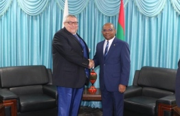 Cypriot Ambassador Agis Loizou calls on Foreign Minister Abdulla Shahid on December 8, 2019. PHOTO/FOREIGN MINISTRY