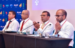 President Ibrahim Mohamed Solih (L-2), Speaker of Parliament Mohamed Nasheed (R-2), and Finance Minister Ibrahim Ameer (R) at the Councillors Conference 'Viavathi Raajje', held at Crossroads Maldives from December 15-16, 2019. PHOTO: NISHAN ALI / MIHAARU