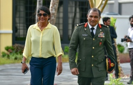 Minister of Defence Mariya Ahmed Didi and Chief of Defence Force Shamal. PHOTO: NISHAN ALI/ MIHAARU