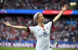 - AFP PICTURES OF THE YEAR 2019 -   United States' forward Megan Rapinoe celebrates scoring her team's first goal during the France 2019 Women's World Cup quarter-final football match between France and United States, on June 28, 2019, at the Parc des Princes stadium in Paris. (Photo by FRANCK FIFE / AFP)