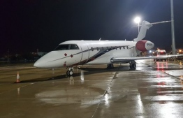 The first jet to be parked at the east apron in VIA. PHOTO/MACL
