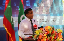 Minister of National Planning and Infrastructure Mohamed Aslam during the ceremony to kick off the reclamation project. PHOTO: MALDIVES TRANSPORT AND CONTRACTING COMPANY