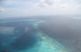 A photo taken by MNDF overlooking a reef near Male' atoll: MNDF has been searching Central Maldives for the space debris -- Photo: MNDF