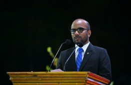 Minister of Finance Ibrahim Ameer speaking at an official state function. PHOTO: HUSSAIN WAHEED/MIHAARU