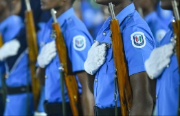 Maldives Polcie Service officers during a demonstration. PHOTO: HUSSAIN WAHEEED / MIHAARU