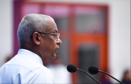 President Ibrahim Mohamed Solih delivering a speech. PHOTO: HUSSAIN WAHEED