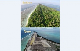 A before and after picture following the mass deforestation that was sanctioned by the government to make way for the development of an airport in Maafaru, Noonu Atoll. PHOTO: MIHAARU FILES