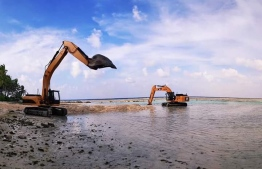 The dredging component of the harbour development project in Fulhadhoo, Baa Atoll, began on Saturday. PHOTO: MINISTRY OF NATIONAL PLANNING AND INFRASTRUCTURE