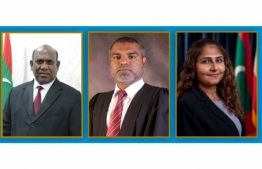 Dr Azmiralda Zahir from the Supreme Court, Mohamed Niyaz from the High Court, and Chief Judge Abdulla Ali from the Civil Court, who sit on this year's judges appeal chamber. PHOTO/DJA