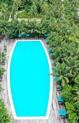 Enjoy a dip at Canareef Resort's olympic-sized pool. PHOTO: HAWWA AMAANY ABDULLA / THE EDITION