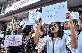 Citizens gathered in front of the gender ministry on January 16, 2020, to protest against rape and sexual violence. PHOTO: NISHAN ALI/MIHAARU