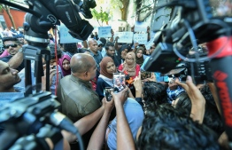 Gender Minister Shidhatha Shareef speaks to the press during the protest against rape in front of the gender ministry on January 17, 2020, amidst the investigation into the sexual abuse of a 2-year-old girl. PHOTO: NISHAN ALI / MIHAARU