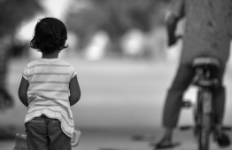 A child photographed in Kanduhulhudhoo, Gaafu Alif Atoll, during local media Mihaaru's special coverage following the sexual abuse of a 21-month-old on the island. Cases of sexual violence being reported to the authorities have spiked since the incident. PHOTO: NISHAN ALI/ MIHAARU