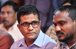 Ahmed Nihan (C-L) the former parliamentary group leader of the Progressive Party of Maldives (PPM) and close aide of former president Abdulla Yameen Abdul Gayoom. PHOTO: HUSSAIN WAHEED / MIHAARU