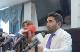 Minister of Health Abdulla Ameen speaking at a pres conference. He declared that FGM was not a policy of the government. PHOTO: MINISTRY OF HEALTH