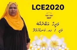 Campaign poster for Madeeha Abdulla contesting for a seat on Kanduhulhudhoo Island Council during the upcoming local council elections. MDP denied Madeeha the party ticket following insensitive statements she made sympathising with the perpetrators in a child sexual abuse case. PHOTO: SOCIAL MEDIA