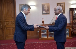The Ambassador-Designate of the European Union Denis Chaibi presenting his Letter of Credence to President Ibrahim Mohamed Solih. PHOTO: PRESIDENT'S OFFICE