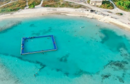 A swimming platform at the artificial beach in Kulhudhuffushi City, PHOTO: ABUU BAKURU / SWIMMING ASSOCIATION OF MALDIVES