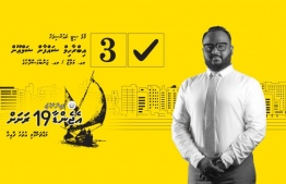Campaign poster for Ibrahim Shaffan Shamoon of MDP, who is running for Male City no.10 (Machangolhi North) in the Local Council Elections 2020; Shamoon was fired from his former job over sexually harassing female staff. PHOTO/FACEBOOK