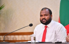 Minister of Tourism Ali Waheed during the press conference held Tuesday at the President's Office. PHOTO: NISHAN ALI / MIHAARU
