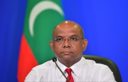 Foreign Minister Shahid addresses a press conference, regarding an outbreak of the novel coronavirus. PHOTO: HUSSAIN WAHEED / MIHAARU