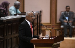 President Ibrahim Mohamed Solih delivering his presidential address at the Parliament. PHOTO: PARLIAMENT