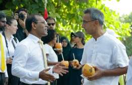 Parliament Speaker Mohamed Nasheed (L) speaks with Soneva founder and CEO Sonu Shivdasani after inaugurating the eco centro at B.Maalhos. PHOTO: HAWWA AMANY ABDULLA / THE EDITION