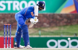 India's batsman Yashasvi Jaiswal plays a shot during the ICC Under-19 World Cup cricket semi-final between India and Pakistan at the Senwes Park, in Potchefstroom, on February 4, 2020.  Wikus DE WET / AFP