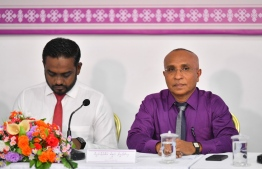 Commissioner Ismail Habeeb (R) and Ahmed Akram of the Elections Commission speak to the press about the Local Council Election 2020. PHOTO: HUSSAIN WAHEED / MIHAARU