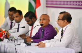Elections Commission (EC) during a press conference. PHOTO: HUSSAIN WAHEED / MIHAARU