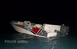 The badly damaged dinghy off the coast of Manadhoo, Noonu Atoll. PHOTO: POLICE
