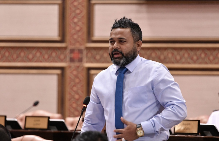 Representative for the constituency of Naifaru, Lhaviyani Atoll and Vice President of PPM, MP Ahmed Shiyam speaks at an earlier session of the Parliament. PHOTO: PEOPLE'S MAJLIS