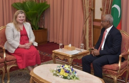 UN Resident Coordinator Catherine Haswell speaks with President Ibrahim Mohamed Solih after presenting her credentials on February 16, 2020. PHOTO/PRESIDENT'S OFFICE