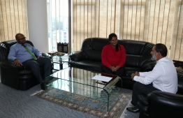 Newly appointed Inspector of Correctional Service Noora Mohamed meeting with Minister of Home Affairs Imran Abdulla. PHOTO: MINISTRY OF HOME AFFAIRS