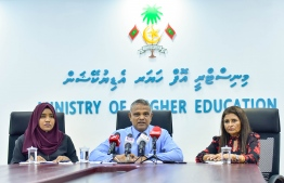 Minister of Higher Education Dr Ibrahim Hassan, during a press briefing held Monday. PHOTO: AHMED AWSHAN ILYAS / MIHAARU