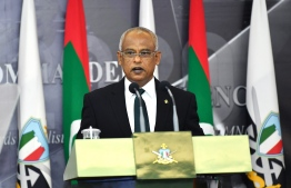President Solih speaking at the MNDF Commanders Conference 2020. PHOTO: PRESIDENT'S OFFICE