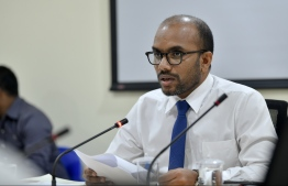 Minister of Finance Ibrahim Ameer speaks at parliamentary Public Finance Committee meeting on February 17, 2020, regarding the MACL-TMA seaplane terminal deal. PHOTO: NISHAN ALI / MIHAARU