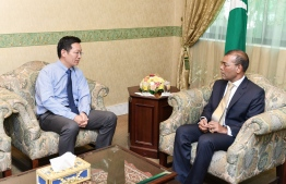 Chinese Ambassador to Maldives Zhang Lizhong meeting with Speaker of Parliament Mohamed Nasheed. PHOTO: PARLIAMENT