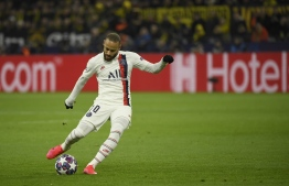 Paris Saint-Germain's Brazilian forward Neymar plays the ball during the UEFA Champions League Last 16, first-leg football match BVB Borussia Dortmund v Paris Saint-Germain (PSG) in Dortmund, western Germany, on February 18, 2020. PHOTO: INA FASSBENDER / AFP