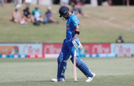 India's Virat Kohli is dismissed during the third one-day international cricket match between New Zealand and India at the Bay Oval in Mount Maunganui on February 11, 2020. PHOTO: MICHAEL BRADLEY / AFP