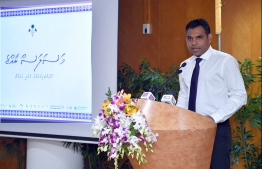 Vice President Faisal Naseem during the launch of the 'Masalas Raajje' awareness campaign. PHOTO: PRESIDENT'S OFFICE